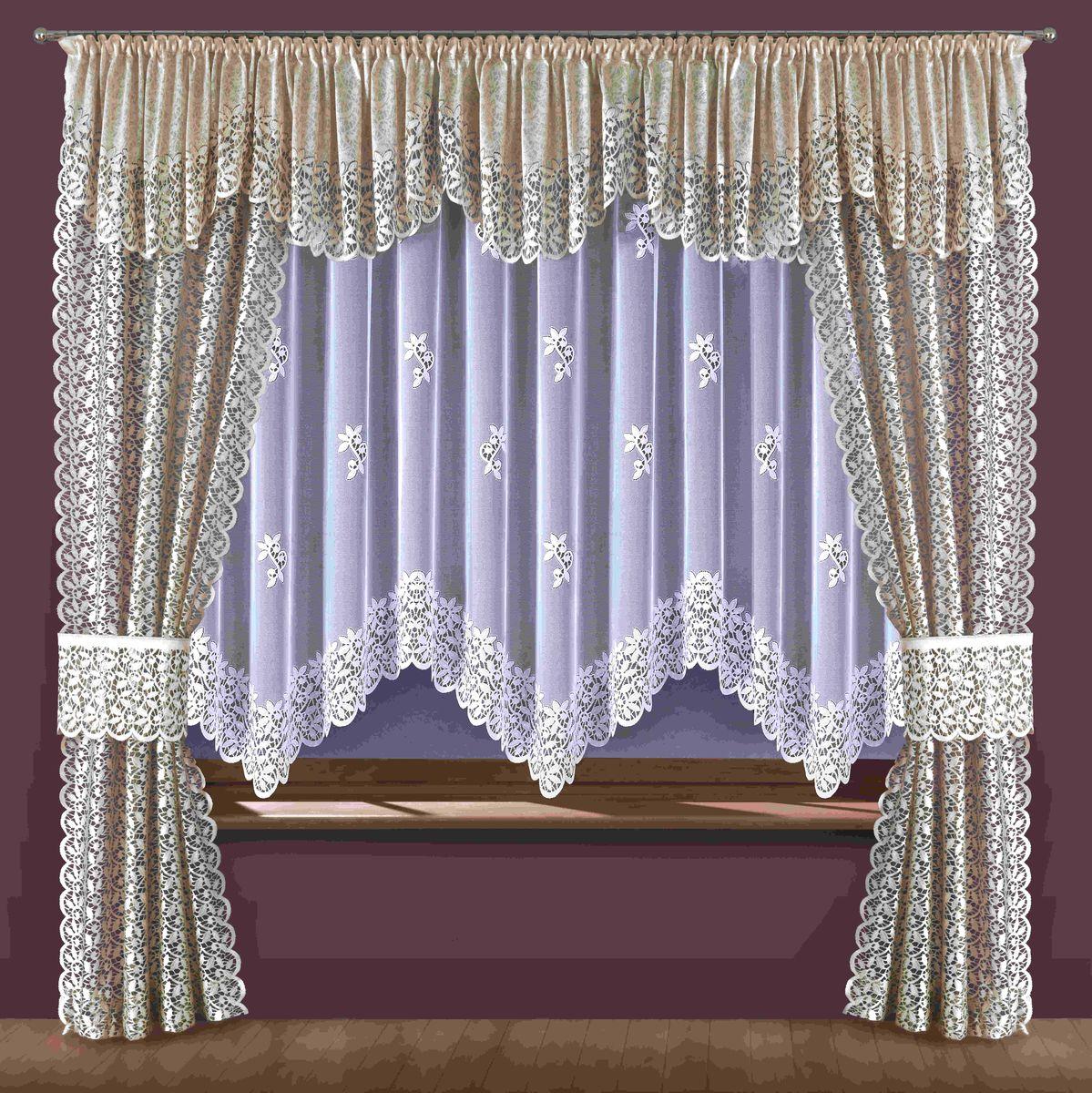 Комплект штор для кухни Wisan Ewodia, на ленте, цвет: белый, бежевый, высота 250 смSVC-300Комплект штор Wisan Ewodia, выполненный из полиэстера, великолепно украсит кухонное окно. Тонкое плетение, оригинальный дизайн привлекут к себе внимание и органично впишутся в интерьер. В комплект входят 2 шторы, тюль, ламбрекен и 2 подхвата. Кружевной узор придает комплекту особый стиль и шарм. Тонкое плетение, нежная цветовая гамма и роскошное исполнение - все это делает шторы Wisan Ewodia замечательным дополнением интерьера помещения. Шторы оснащены шторной лентой для красивой сборки. В комплект входит: Штора - 2 шт. Размер (ШхВ): 120 см х 250 см. Тюль - 1 шт. Размер (ШхВ): 360 см х 180 см. Ламбрекен - 1 шт. Размер (ШхВ): 500 см х 55 см. Подхват - 2 шт.Фирма Wisan на польском рынке существует уже более пятидесяти лет и является одной из лучших польских фабрик по производству штор и тканей. Ассортимент фирмы представлен готовыми комплектами штор для гостиной, детской, кухни, а также текстилем для кухни (скатерти, салфетки, дорожки, кухонные занавески). Модельный ряд отличает оригинальный дизайн, высокое качество. Ассортимент продукции постоянно пополняется.