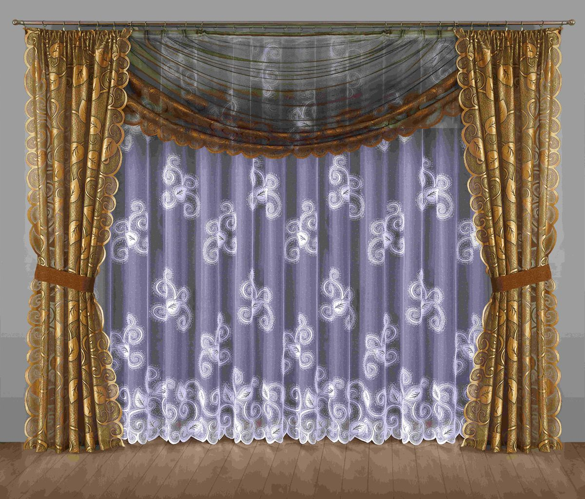 Комплект штор Wisan Ulryka, на ленте, цвет: коричневый, золотой, высота 250 смK100Комплект штор Wisan Ulryka выполненный из полиэстера, великолепно украсит любое окно. В комплект входят 2 шторы, тюль, ламбрекен и 2 подхвата.Интересный крой, и цветочный узор придают комплекту особый стиль и шарм. Тонкое плетение, нежная цветовая гамма и роскошное исполнение - все это делает шторы Wisan Ulryka замечательным дополнением интерьера помещения.Комплект оснащен шторной лентой для красивой сборки. В комплект входит: Штора - 2 шт. Размер (ШхВ): 145 см х 250 см. Тюль - 1 шт. Размер (ШхВ): 400 см х 250 см. Ламбрекен - 1 шт. Размер (ШхВ): 350 см х 145 см. Подхват - 2 шт.Фирма Wisan на польском рынке существует уже более пятидесяти лет и является одной из лучших польских фабрик по производству штор и тканей. Ассортимент фирмы представлен готовыми комплектами штор для гостиной, детской, кухни, а также текстилем для кухни (скатерти, салфетки, дорожки, кухонные занавески). Модельный ряд отличает оригинальный дизайн, высокое качество. Ассортимент продукции постоянно пополняется.