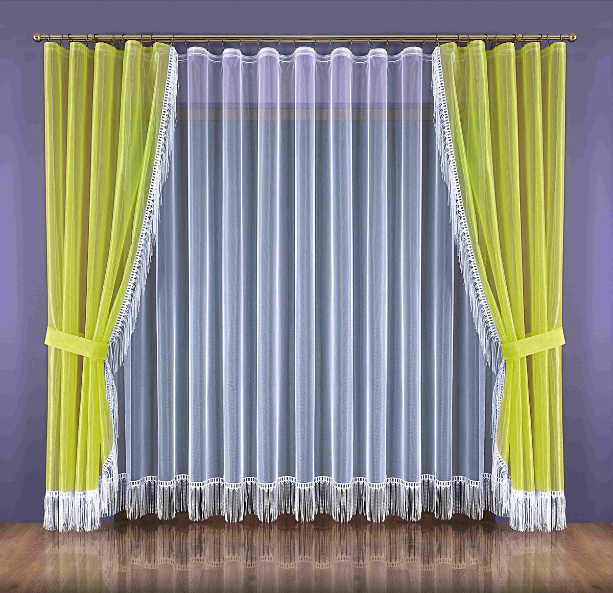 Комплект штор Wisan Zyta, на ленте, цвет: белый, салатовый, высота 250 смSVC-300Комплект штор Wisan Zyta, выполненный из полиэстера, великолепно украсит окно в гостиной или спальне. В комплект входят 2 шторы, тюль и 2 подхвата. Бахрома придает комплекту особый стиль и шарм. Тонкое плетение, нежная цветовая гамма и роскошное исполнение - все это делает шторы Wisan Zyta замечательным дополнением интерьера комнаты. Шторы оснащены шторной лентой для красивой сборки, а также двумя подхватами. В комплект входит: Штора - 2 шт. Размер (ШхВ): 150 см х 250 см. Тюль - 1 шт. Размер (ШхВ): 300 см х 250 см. Подхват - 2 шт.