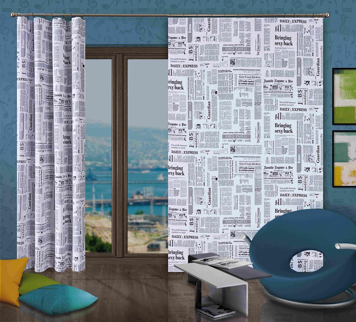 Комплект гардин-панно Wisan Gazeta, на ленте, цвет: белый, черный, высота 250 см