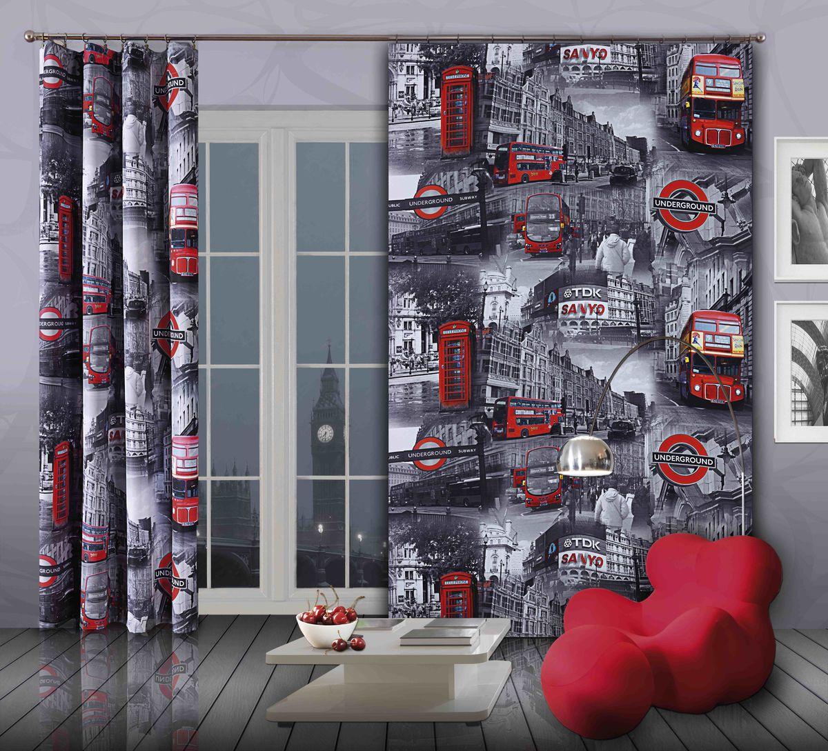 Комплект гардин-панно Wisan Bus, на ленте, цвет: серый, красный, высота 250 см