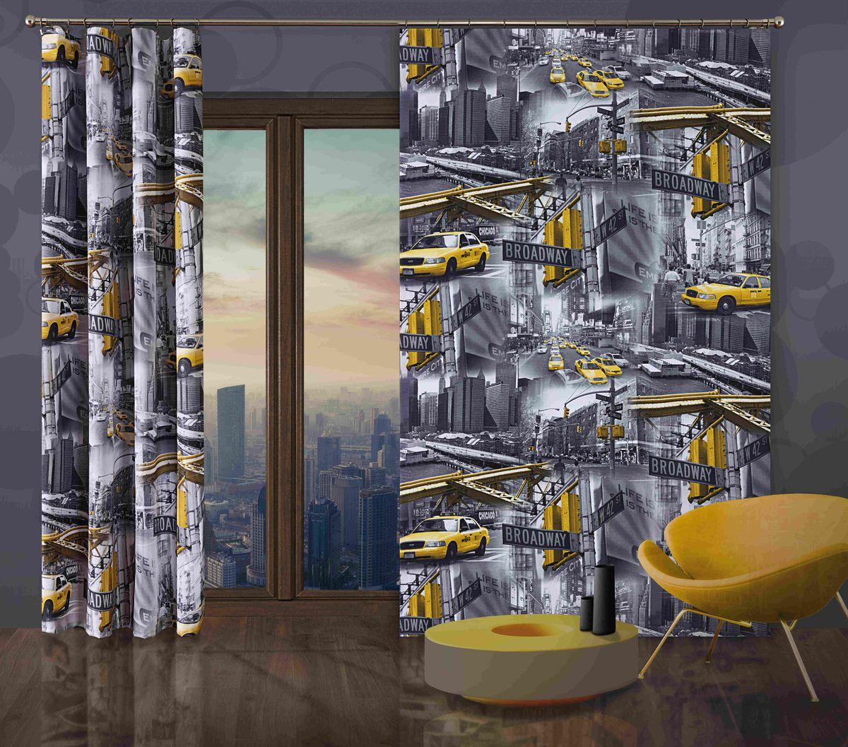 Комплект гардин-панно Wisan Taxi, на ленте, цвет: серый, желтый, высота 250 см