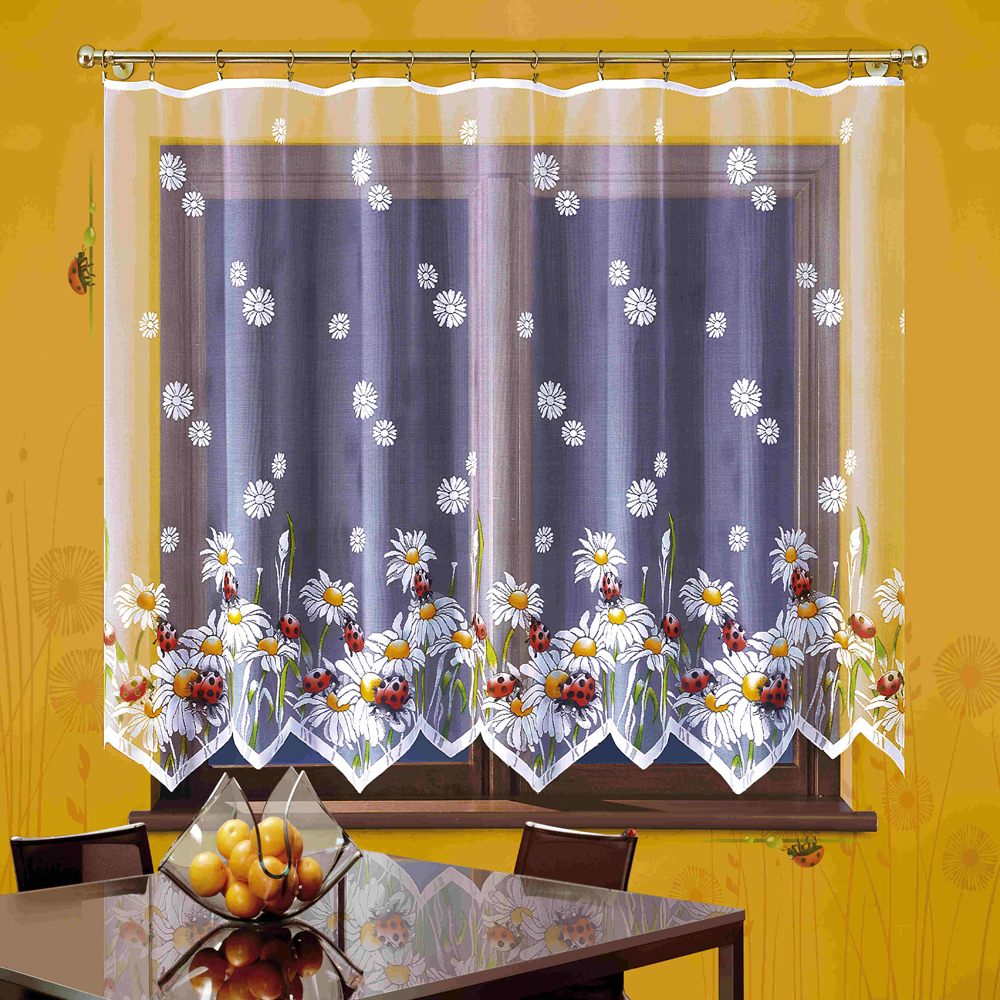 Гардина Wisan Biedronki, на ленте, цвет: белый, высота 150 смK100Гардина Wisan Biedronki великолепно украсит любое окно в гостиной, спальне или на кухне. Изделие выполнено из полиэстера и украшено изящным изображением ромашек с божьими коровками. Тонкое плетение, нежная цветовая гамма и роскошное исполнение - все это делает гардину Wisan Biedronki замечательным дополнением интерьера комнаты. В комплект входит: Гардина - 1 шт. Размер (ШхВ): 300 см х 150 см.