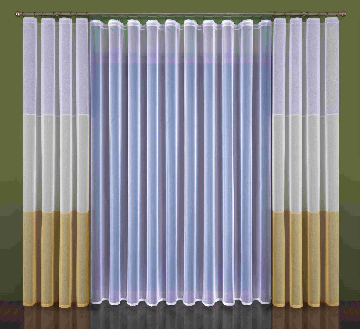 Комплект штор Wisan Kleonia, на ленте, цвет: белый, бежевый, высота 250 смBH-UN0502( R)Комплект штор Wisan Kleonia выполненный из полиэстера, великолепно украсит любое окно. В комплект входят 2 шторы и плотный тюль.Оригинальный дизайн придает комплекту особый стиль и шарм. Качественный материал и тонкое плетение, нежная цветовая гамма и роскошное исполнение - все это делает шторы Wisan Kleonia замечательным дополнением интерьера помещения.Комплект оснащен шторной лентой для красивой сборки. В комплект входит: Тюль - 1 шт. Размер (ШхВ): 500 см х 250 см.Штора - 2 шт. Размер (ШхВ): 140 см х 250 см. Фирма Wisan на польском рынке существует уже более пятидесяти лет и является одной из лучших польских фабрик по производству штор и тканей. Ассортимент фирмы представлен готовыми комплектами штор для гостиной, детской, кухни, а также текстилем для кухни (скатерти, салфетки, дорожки, кухонные занавески). Модельный ряд отличает оригинальный дизайн, высокое качество. Ассортимент продукции постоянно пополняется.