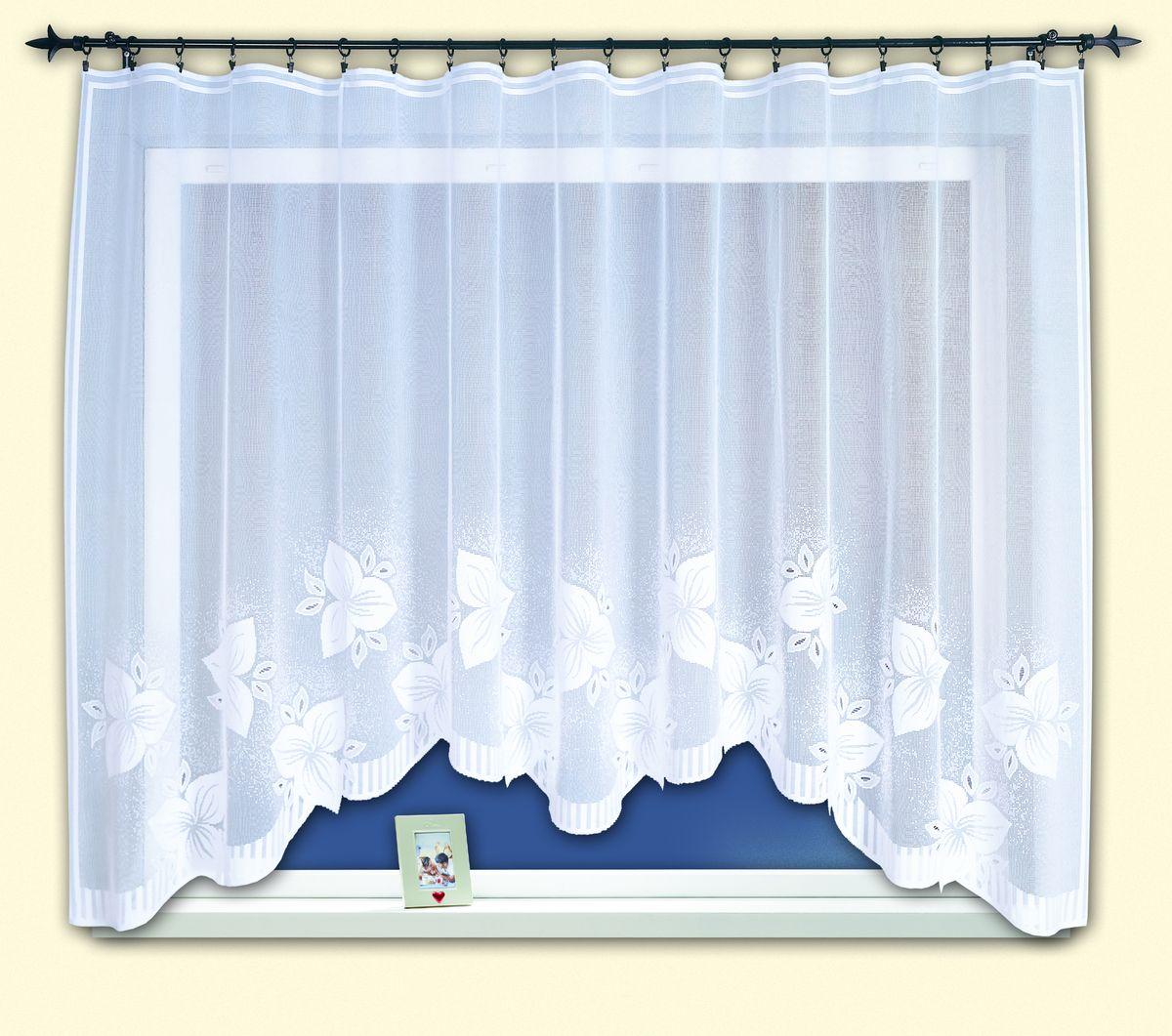 Гардина для кухни Haft Magia Wzorow, на ленте, цвет: белый, высота 160 см. 33960/16033960/160Воздушная гардина Haft Magia Wzorow, изготовленная из полиэстера белого цвета, станет великолепным украшением любого окна. Оригинальный цветочный рисунок, украшающий нижний край гардины, и нежная фактура материала привлекут к себе внимание и органично впишутся в интерьер комнаты. В гардину вшита шторная лента.Размер гардины: 160 см х 300 см.Главный ассортимент компании Haft - это тюль и занавески. Haft предлагает готовые решения для ваших окон, выпуская готовые наборы штор, которые остается только распаковать и повесить. Модельный ряд отличает оригинальный дизайн, высокое качество. Занавески, шторы, гардины Haft долговечны, прочны, практически не сминаемы, они не притягивают пыль и за ними легко ухаживать. Вся продукция бренда Haft выполнена на современном оборудовании из лучших материалов.