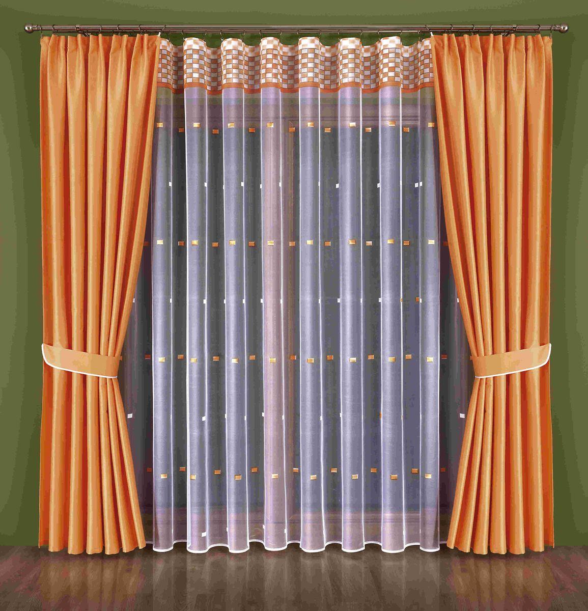 Комплект штор Wisan Kenza, на ленте, цвет: оранжевый, белый, высота 250 см184WКомплект штор Wisan Kenza выполненный из полиэстера, великолепно украсит любое окно. В комплект входят 2 шторы, тюль и 2 подхвата. Оригинальный узор придает комплекту особый стиль и шарм. Тонкое жаккардовое плетение, нежная цветовая гамма и роскошное исполнение - все это делает шторы Wisan Kenza замечательным дополнением интерьера помещения.Комплект оснащен шторной лентой для красивой сборки. В комплект входит: Штора - 2 шт. Размер (ШхВ): 180 см х 250 см. Тюль - 1 шт. Размер (ШхВ): 600 см х 250 см. Подхват - 2 шт. Фирма Wisan на польском рынке существует уже более пятидесяти лет и является одной из лучших польских фабрик по производству штор и тканей. Ассортимент фирмы представлен готовыми комплектами штор для гостиной, детской, кухни, а также текстилем для кухни (скатерти, салфетки, дорожки, кухонные занавески). Модельный ряд отличает оригинальный дизайн, высокое качество. Ассортимент продукции постоянно пополняется.