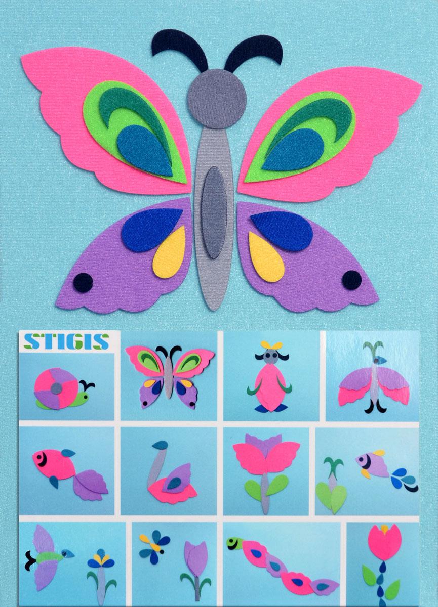"""С помощью набора """"Бабочка"""" ваш ребенок сможет легко смастерить различные картинки. В набор входят 33 фигурки с микроскопическими липучками. Благодаря стигис-технологии, фигурки прикрепляются не только на любое место на фоне, но и друг на друга, что создает бесконечное разнообразие вариантов. Фантазия ребенка безгранична, и разноцветные детальки с легкостью превращаются из птичек в рыбок, черепаху, цветочки, улитку, смешного человечка, и наконец, в бабочку! Данная мозаика развивает творчество, фантазию, мелкую моторику, восприятие цвета, знакомит с важным понятием - симметрия. Игра отлично подойдет для занятий в группе, в дороге, проведения различных конкурсов. Является улучшенным аналогом фланелеграфа - пособия, используемого во всех детских садах."""