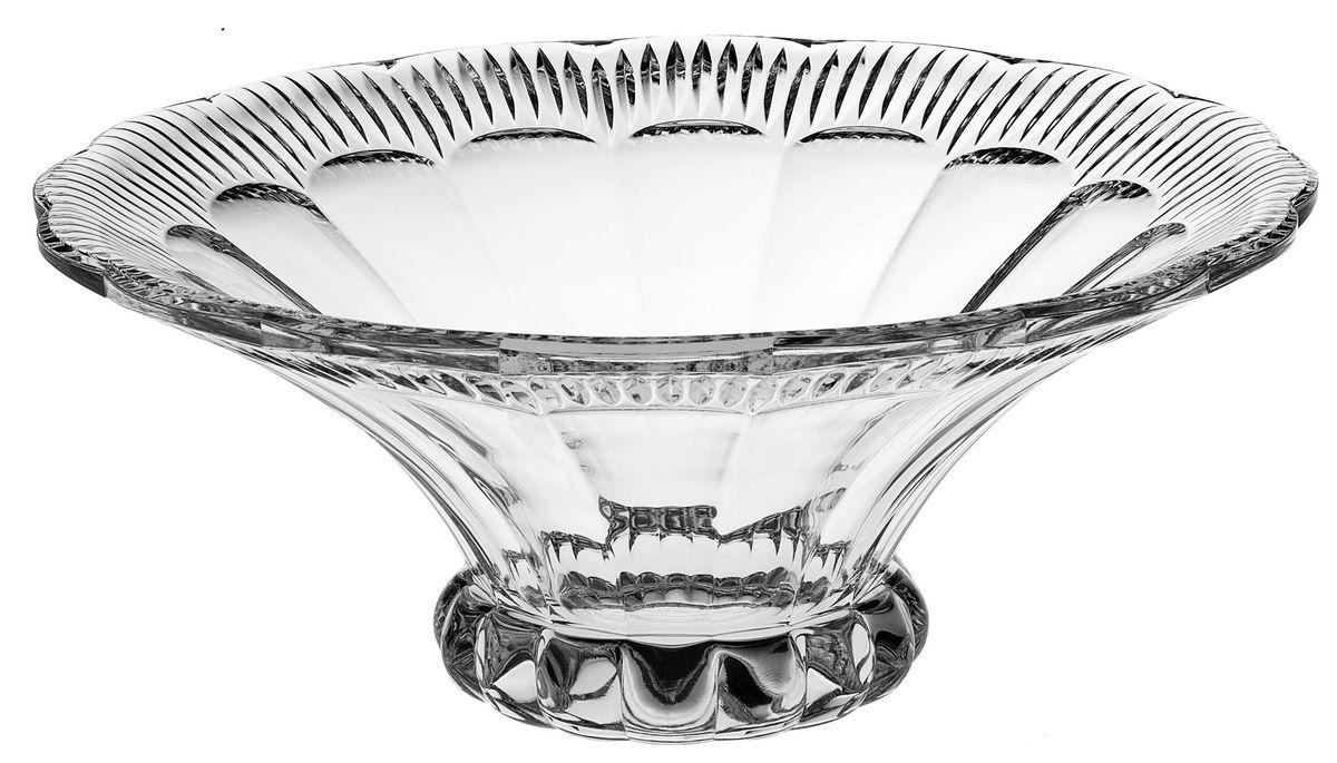 Салатник Crystal Bohemia, диаметр 35,5 см115510Салатник Crystal Bohemia выполнен из прочного высококачественного хрусталя и имеет круглую форму. Края салатника декорированы рельефом. Он излучает приятный блеск и издает мелодичный звон. Салатник сочетает в себе изысканный дизайн с максимальной функциональностью. Он прекрасно впишется в интерьер вашей кухни и станет достойным дополнением к кухонному инвентарю. Салатник не только украсит ваш кухонный стол и подчеркнет прекрасный вкус хозяйки, но и станет отличным подарком.Диаметр по верхнему краю: 35,5 см.Диаметр основания: 13,5 см.Высота салатника: 14,5 см.