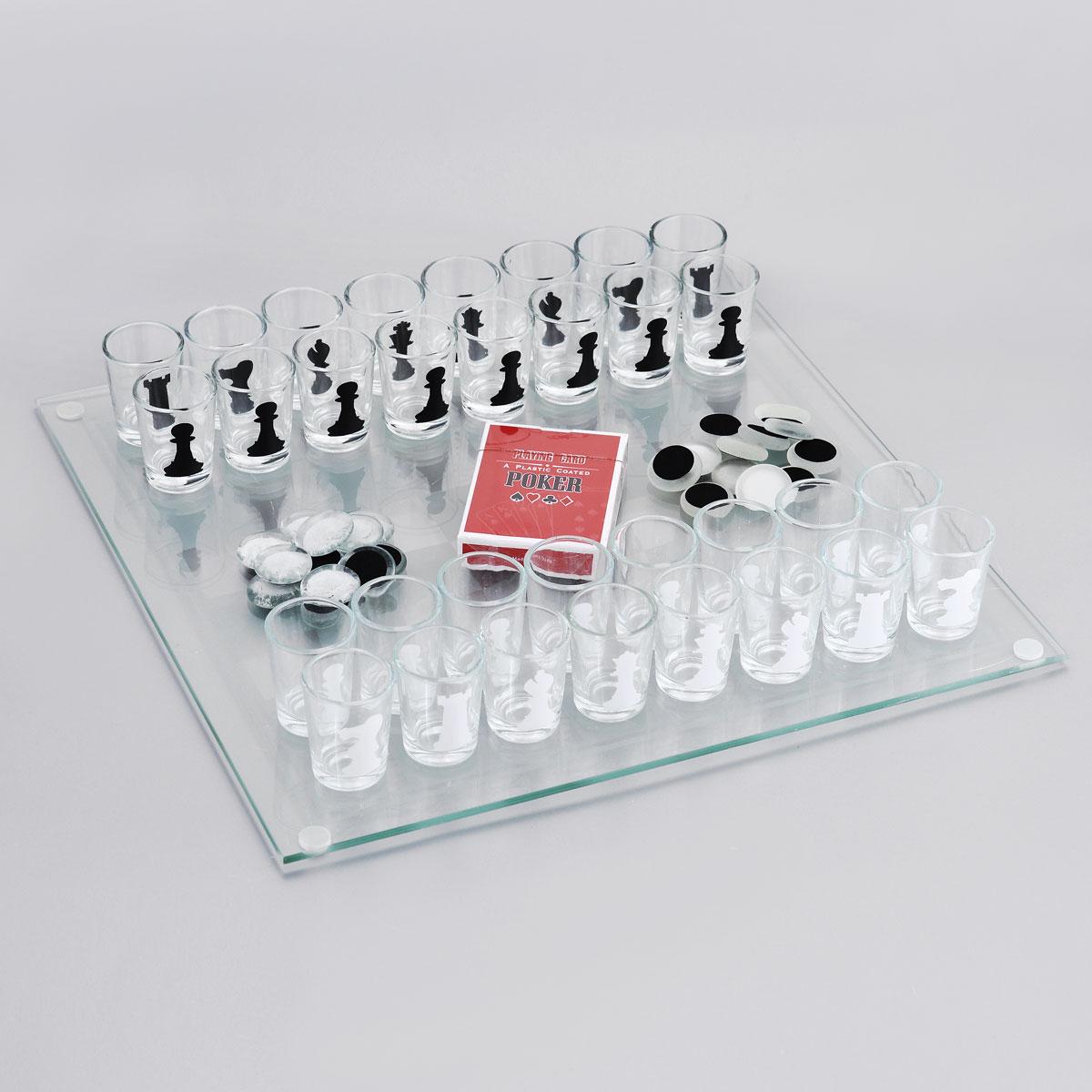 Игровой набор Эврика: карты, шашки, шахматыVT-1520(SR)Шахматы - классическая игра не для слабых умов, а пьяные шахматы - еще и для неслабых духом людей. Ведь это уже не классическое, а весьма оригинальное развлечение - фигурами в нем выступают рюмки. Можно наполнить их предпочтительными напитками и устроить двойное соревнование: на интеллект и на выносливость. Соперники наполняют стопки горячительным напитком, и как только не удалось сберечь очередную фигуру, придется выпить содержимое рюмки с её изображением. Дополнительно в универсальный комплект входят стеклянная доска для шахмат, матовые и прозрачные фишки небольшого размера для игры в шашки и карты для покера. Разнообразьте свои праздники, сделав их как минимум раза в три веселее с игровым набором Эврика, а также подарите такую возможность близким. Размер игрового поля: 35 см х 35 см. Диаметр стопки (по верхнему краю): 3,5 см. Высота стопки: 4,7 см.