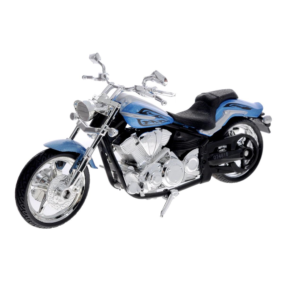 """Коллекционная модель мотоцикла MotorMax """"Star Raider S"""" выполнена из металла с элементами из пластика и представляет собой уменьшенную лицензионную копию мотоцикла Star Raider S. Модель отличается детализацией высшего уровня, проработкой мельчайших деталей, отличной прокраской как мелких, так и крупных элементов. Модель имеет ряд хромированных деталей и резиновые покрышки. Колеса мотоцикла крутятся; руль поворачивает переднее колесо. Модель помещена на пластиковую подставку, дополненную надписью с названием мотоцикла. Коллекционная модель мотоцикла MotorMax """"Star Raider S"""" понравится вашему ребенку и станет отличным дополнением любой коллекции."""