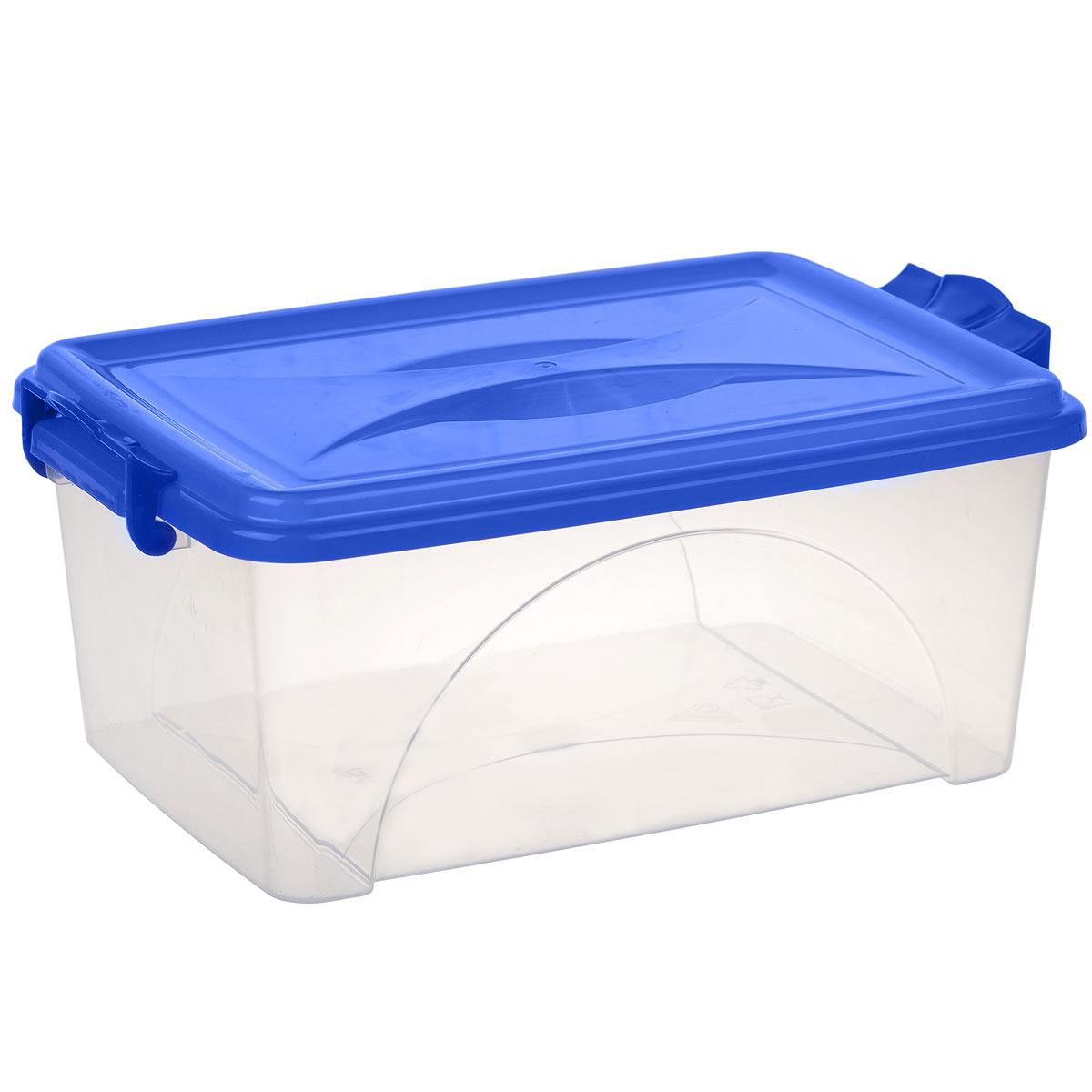 Контейнер Альтернатива, цвет: синий, 7,5 л41619Контейнер Альтернатива выполнен из прочного пластика. Он предназначен для хранения различных мелких вещей. Крышка легко открывается и плотно закрывается. Прозрачные стенки позволяют видеть содержимое. По бокам предусмотрены две удобные ручки, с помощью которых контейнер закрывается.Контейнер поможет хранить все в одном месте, а также защитить вещи от пыли, грязи и влаги.