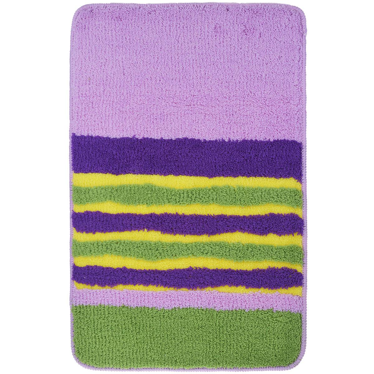 Коврик для ванной комнаты Fresh Code, цвет: сиреневый с полосками, 80 см х 50 смRG-D31SКоврик для ванной Fresh Code изготовлен из 100% акрила с латексной основой. Коврик, украшенный ярким цветным рисунком, создаст уют и комфорт в ванной комнате. Длинный ворс мягко соприкасается с кожей стоп, вызывая только приятные ощущения. Рекомендации по уходу: - стирать в ручном режиме, - не использовать отбеливатели, - не гладить,- не подходит для сухой чистки (химчистки).