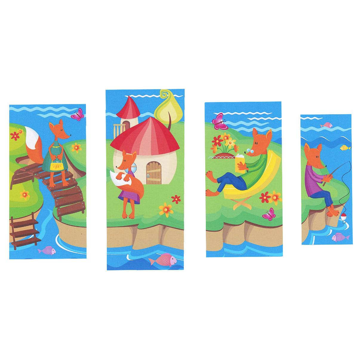 Модульная картина на холсте КвикДекор  Лисичкин островок , 119 см х 70 см -  Детская комната