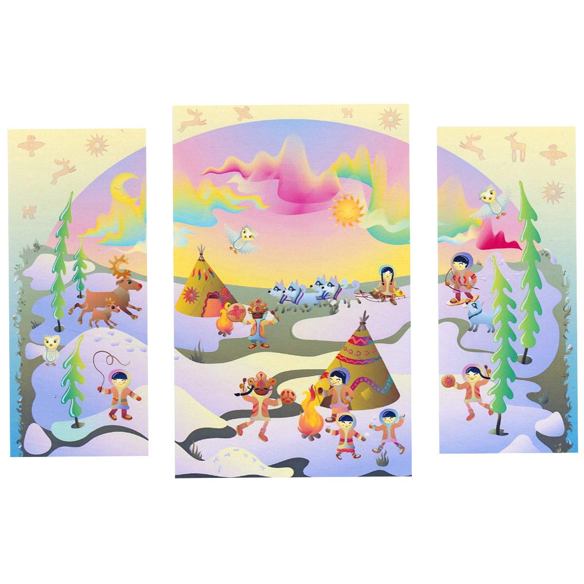 Модульная картина на холсте КвикДекор  Северное сияние , 116 см х 80 см -  Детская комната