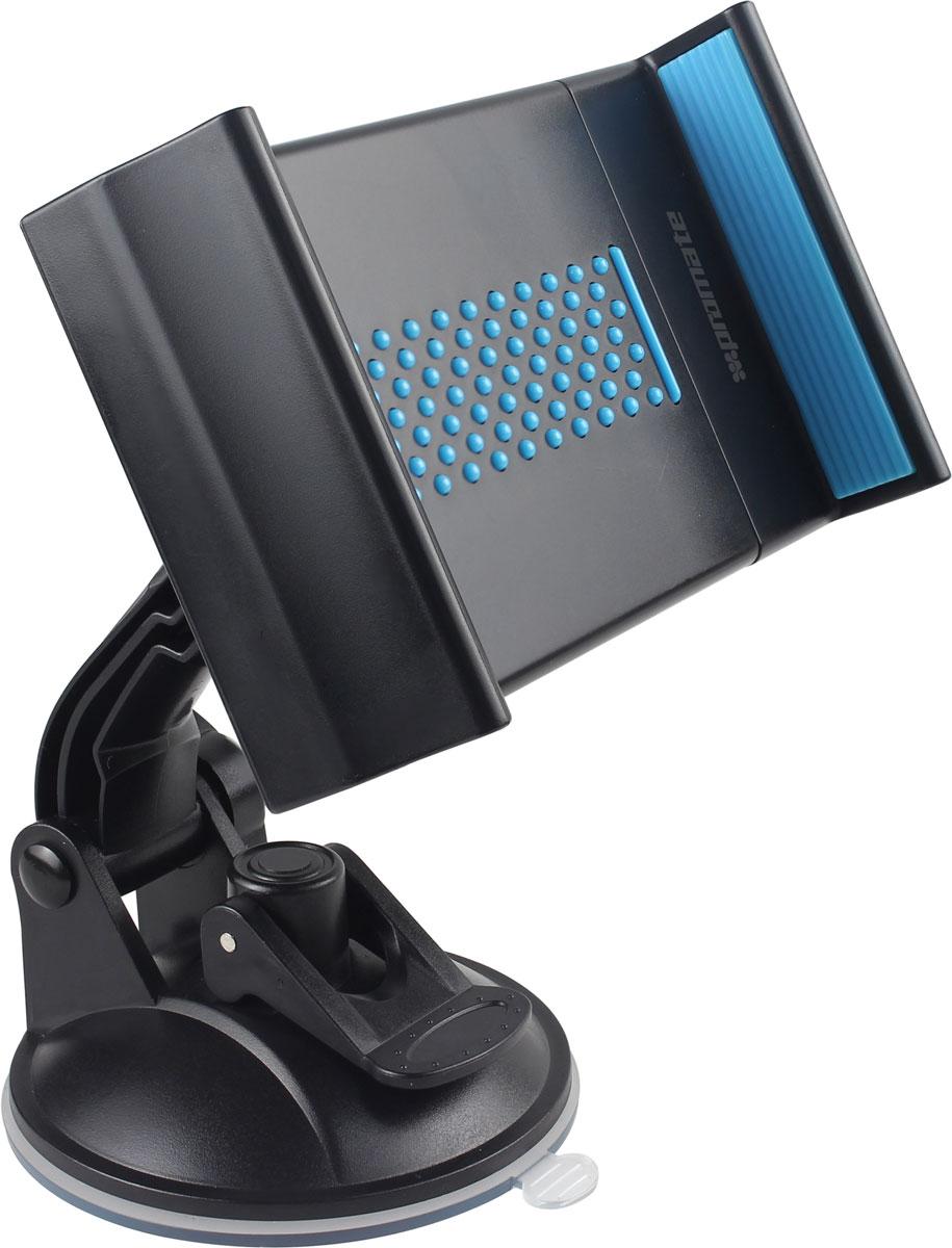 Держатель для ПК универсальный Promate Mount-Tab, цвет: голубойMOBIK107Promate Mount-Tab дает возможность зафиксировать планшетный компьютер в любом удобном месте вашего автомобиля. Одним движением защелки мощная пневмоприсоска фиксирует держатель на любой жесткой гладкой поверхности. Благодаря шарниру в 360 градусов пользователь с легкостью может настроить для себя оптимальный угол обзора экрана. Настраиваемые фиксаторы надежно удержат ваш планшетный компьютер на месте.