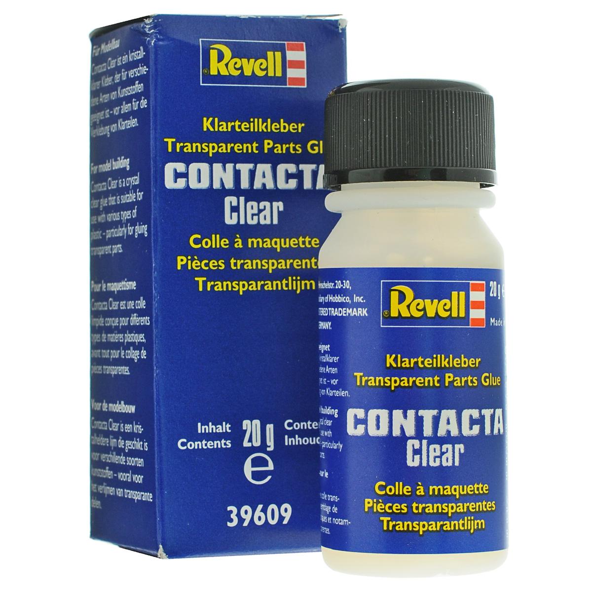 """Клей Revell """"Contacta Clear"""" предназначен для склеивания прозрачных пластмассовых деталей. Не оставляет следов. Клей имеет удобную пластиковую баночку с завинчивающейся крышкой. На внутренней стороне крышки расположена кисточка для нанесения. Клей обеспечивает прочное и незаметное соединение прозрачных деталей. Вес: 20 г."""