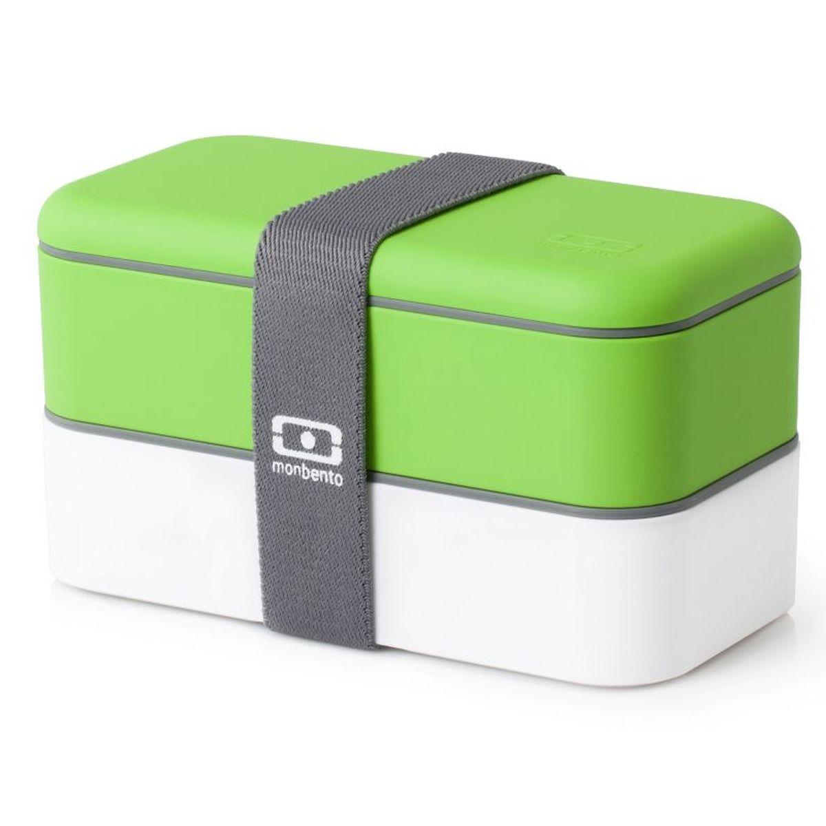 Ланч-бокс Monbento Original, цвет: зеленый, белый, 1 лVT-1520(SR)Ланчбокс Monbento Original изготовлен из высококачественного пищевого пластика с приятным на ощупь прорезиненным покрытием soft-touch. Предназначен для хранения и переноски пищевых продуктов. Ланчбокс представляет собой два прямоугольных контейнера, в которых удобно хранить различные блюда. В комплекте также предусмотрена емкость для соуса, которая удобно помещается в одном из контейнеров. Контейнеры вакуумные, что позволяет продуктам дольше оставаться свежими и вкусными. Боксы дополнительно фиксируются друг над другом эластичным ремешком. Компактные размеры позволят хранить ланчбокс в любой сумке. Его удобно взять с собой на работу, отдых, в поездку. Теперь любимая домашняя еда всегда будет под рукой, а яркий дизайн поднимет настроение и подарит заряд позитива. Можно использовать в микроволновой печи и для хранения пищи в холодильнике, можно мыть в посудомоечной машине. В крышке каждого контейнера - специальная пробка, которую надо вытащить, если вы разогреваете еду. Объем одного контейнера: 0,5 л. Общий размер ланчбокса: 18 см х 9 см х 10,5 см. Размер контейнера: 18 см х 9 см х 4,5 см. Размер емкости для соуса: 8,5 см х 4,5 см х 3 см.Объем емкости для соуса: 0,1 л.