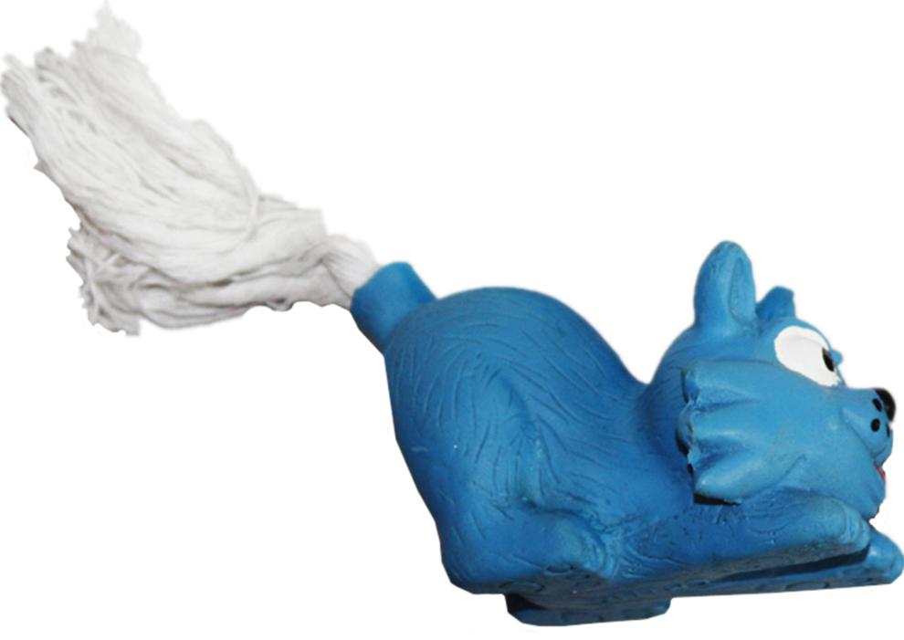 Игрушка для собак Ziver Кот с веревочным хвостом, с пищалкой, цвет: голубой, длина 13 см0120710Игрушка Ziver Кот с веревочным хвостом изготовлена из высококачественного латекса с использованием только безопасных, не токсичных красителей. Игрушка выполнена в виде милого кота и при надавливании или захвате пастью пищит. Привлечет внимание вашего любимца, позволит весело провести ему время, не навредит здоровью, а также поможет вам сохранить в целости личные вещи и предметы интерьера.Размер: 13 см х 6 см х 4 см.