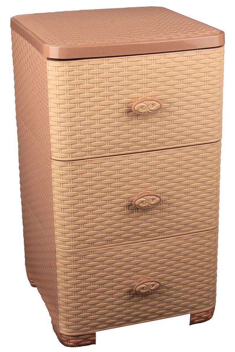 Комод Альтернатива Плетенка, цвет: какао, 37,5 см х 36 см х 63 см12723Комод Альтернатива Плетенка изготовлен из высококачественного пластика. Предназначен для хранения различных вещей, игрушек, канцтоваров и состоит из трех вместительных секций. Комод оснащен колесиками для удобства транспортировки.Такой необычный комод надежно защитит вещи от загрязнений, пыли и моли, а также позволит вам хранить их компактно и с удобством. Размер ящиков: 35 см х 38 см х 19 см.