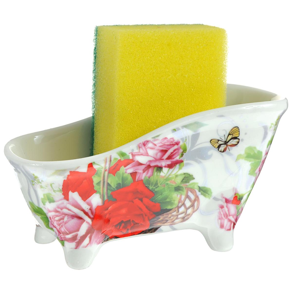 Набор для мытья посуды Besko Корзина роз, 2 предмета. 532-1560509237Набор для мытья посуды Besko Корзина роз состоит из подставки и губки. Подставка выполнена из фарфора в виде ванночки на четырех ножках. Губка идеально впитывает влагу и деликатно очищает поверхность, не царапая ее. Размер подставки: 14,5 см х 6 см х 7,5 см. Размер губки: 9 см х 6 см х 3 см.Уважаемые клиенты!Обращаем ваше внимание на цветовой ассортимент товара. Поставка осуществляется в зависимости от прихода товара на склад.