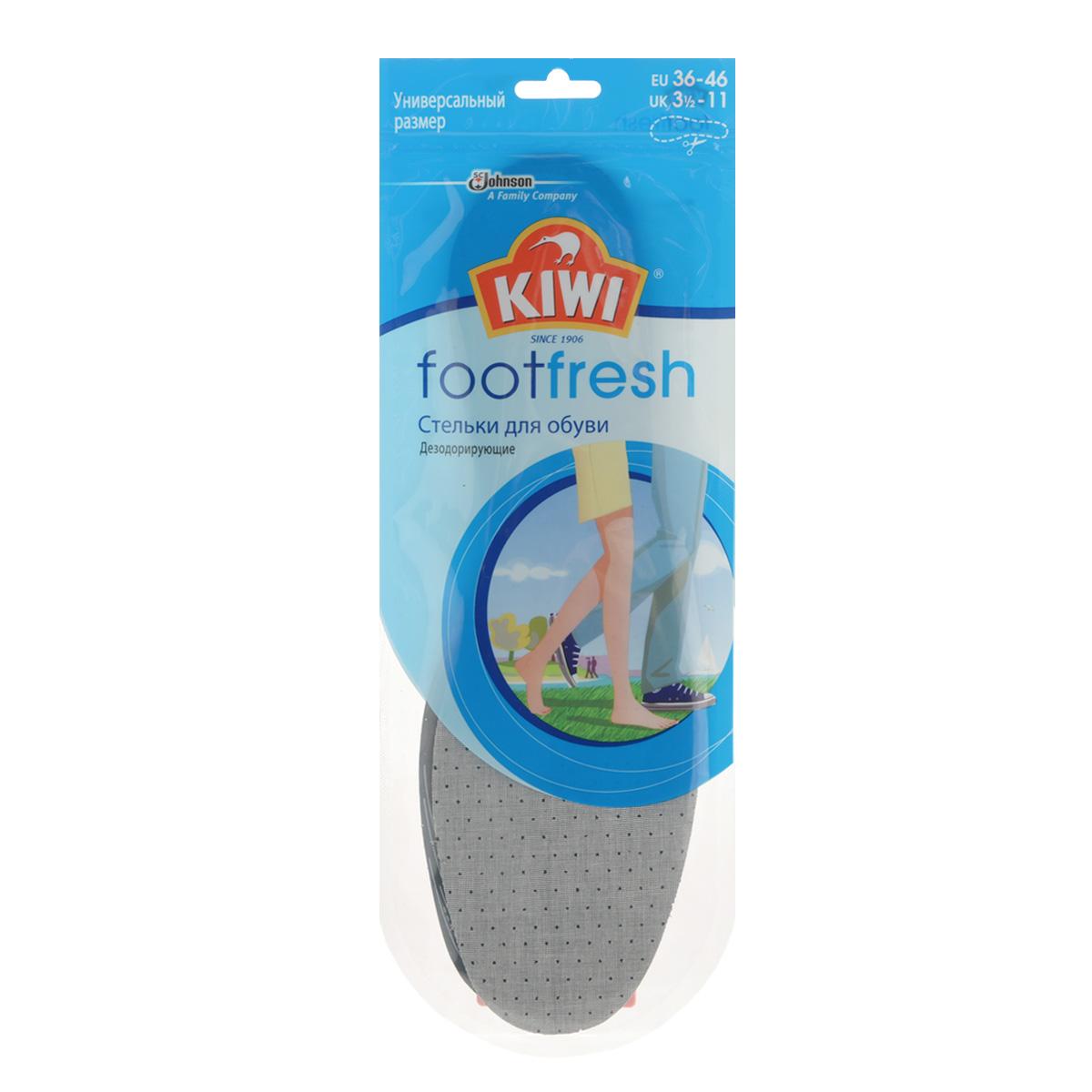 Стельки дезодорирующие Kiwi FootFresh, с активированным углемMW-3101Стельки для обуви Kiwi FootFresh сохраняют свежесть ваших ног. Специальный слой с активированным углем обеспечивает защиту от неприятного запаха. Дышащий верхний слой создает ощущение комфорта для ваших ног.Размер универсальный: 36-46.