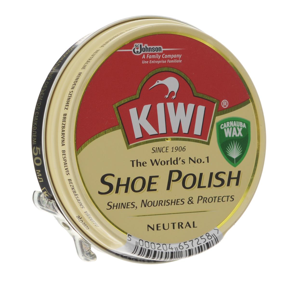 Крем для обуви Kiwi Shoe Polish, цвет: прозрачный, 50 мл632090Самый популярный в мире крем в банке Kiwi Shoe Polish предназначен для ухода за изделиями из гладкой кожи. В состав крема входит уникальный воск листьев пальмы Carnauba, произрастающей в джунглях Южной Америки. Наличие крышки-щелчок гарантирует легкость открываний.