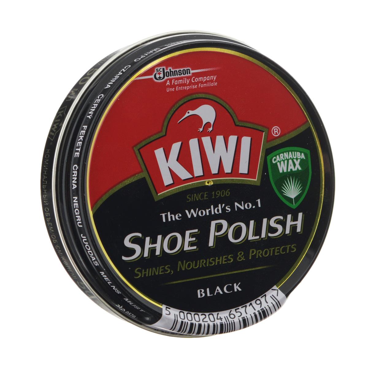 Крем для обуви Kiwi Shoe Polish, цвет: черный, 50 мл632088Самый популярный в мире крем в банке Kiwi Shoe Polish предназначен для ухода за изделиями из гладкой кожи. В состав крема входит уникальный воск листьев пальмы Carnauba, произрастающей в джунглях Южной Америки. Наличие крышки-щелчок гарантирует легкость открываний.