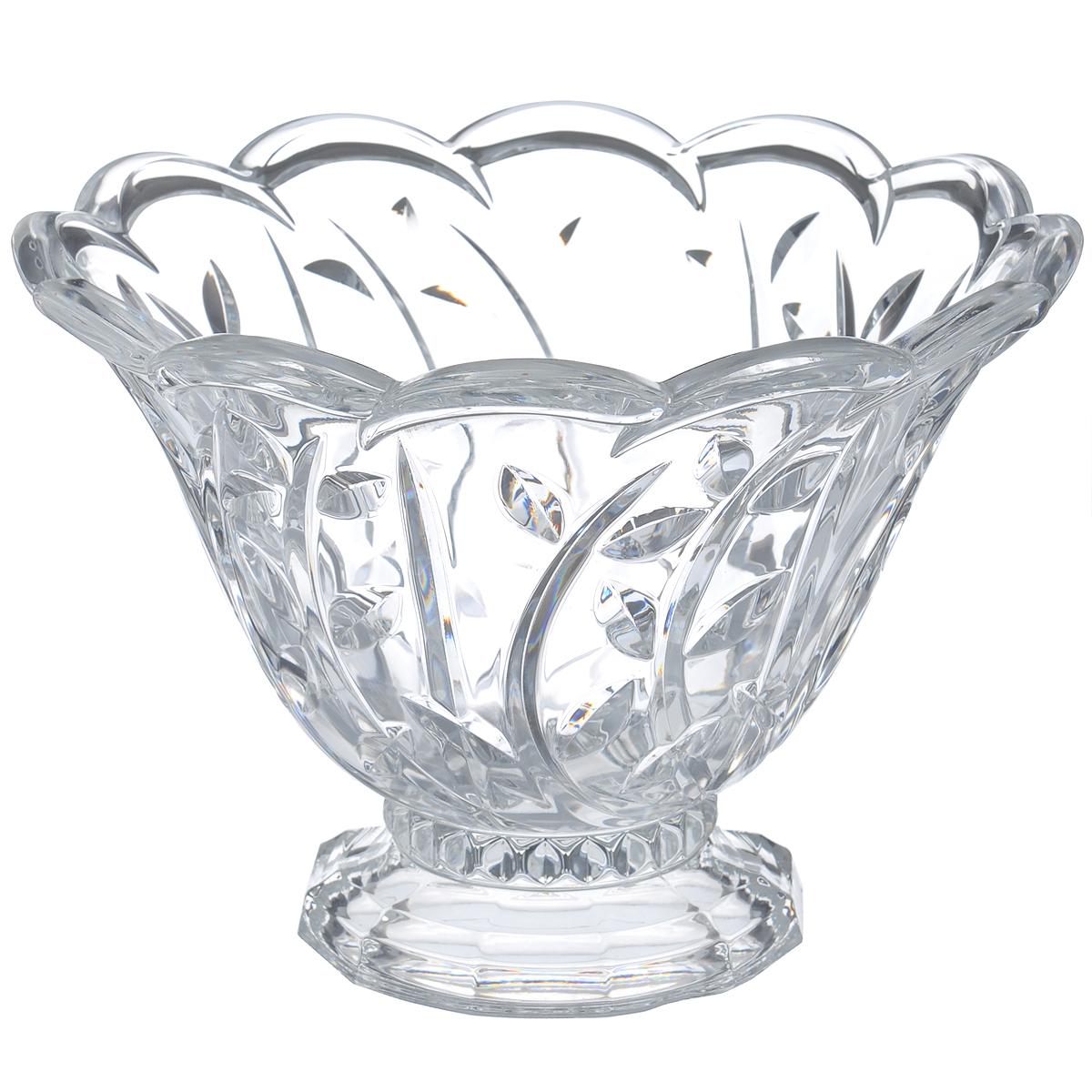 Салатник Crystal Bohemia Fairfa, диаметр 23 см115610Салатник Crystal Bohemia Fairfa изготовлен из хрусталя и выполнен в форме большой чаши на подставке, декорированной рельефным изображением растений и волнистыми краями. Данный салатник сочетает в себе изысканный дизайн с максимальной функциональностью. Он прекрасно впишется в интерьер вашей кухни и станет достойным дополнением к кухонному инвентарю. Такой салатник не только украсит ваш кухонный стол и подчеркнет прекрасный вкус хозяйки, но и станет отличным подарком.Диаметр: 23 см.Высота: 16,5 см.