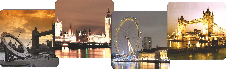 Набор подставок под кружки GiftnHome Лондон - вечернее настроение, 10 х 10 см, 4 шт54 009312Набор GiftnHome Лондон - вечернее настроение содержит четыре квадратные подставки под кружки, выполненные из пробки. Подставки украшены разными изображениями достопримечательностей вечернего Лондона. Ламинированное покрытие изделий обеспечивает стойкость к высоким температурам. Такие подставки защищают поверхность стола от загрязнений и воздействия высоких температур напитка. Яркий дизайн подставок украсит интерьер вашей кухни и привнесет индивидуальности в обычную сервировку стола. Не рекомендуется полностью погружать изделие в воду. Предельная температура 90°С. Размер подставки: 10 см х 10 см х 0,4 см.