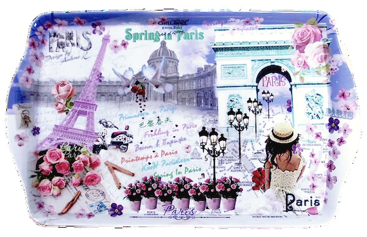 Поднос сервировочный GiftLand Весна в Париже, 38,8 x 24 см115610Прямоугольный поднос GiftLand Весна в Париже выполнен из высококачественного, жаропрочного пластика и украшен изображением Парижа. Красочный дизайн подноса придаст оригинальность и яркость любой кухне или столовой. Такой поднос станет незаменимым предметом для сервировки стола. Компактный поднос предохранит поверхность стола от грязи и перегрева. Изделие устойчиво к высоким температурам. Можно мыть в посудомоечной машине и использовать в микроволновой печи. Размер подноса: 38,8 см x 24 см. Высота подноса: 2,2 см.