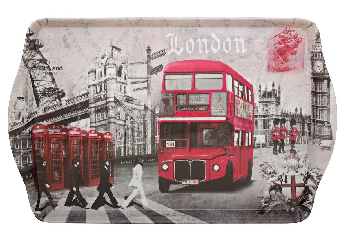 Поднос сервировочный GiftLand London Crossroads, 38,8 x 24 см115510Прямоугольный поднос GiftLand London Crossroads выполнен из высококачественного, жаропрочного пластика и украшен изображением достопримечательностей Лондона. Красочный дизайн подноса придаст оригинальность и яркость любой кухне или столовой. Такой поднос станет незаменимым предметом для сервировки стола. Компактный поднос предохранит поверхность стола от грязи и перегрева. Размер подноса: 38,8 см x 24 см. Высота подноса: 2,2 см.