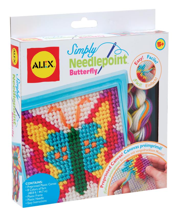 """Набор для вышивания Alex """"Бабочка"""" прекрасно подойдет вашей малышке и поможет ей познакомиться с основами вышивания. В набор входит пластиковая канва, рамка, пряжа 8 цветов и безопасная пластиковая игла. На канву уже нанесен цветной рисунок, а игла с закругленным кончиком сделает творчество простым и безопасным. С помощью этого набора ваша дочка сама с легкостью создаст великолепную картинку с изображением яркой бабочки. Готовую картину можно украсить входящей в комплект пластиковой рамкой. Такая картина станет предметом гордости малышки и дополнит интерьер детской комнаты. Вышивание - замечательное прикладное искусство, которое так весело и полезно осваивать вместе с ребенком!"""