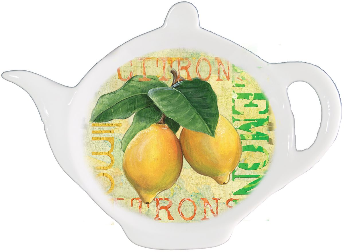 Подставка для чайных пакетиков GiftnHome Лимон115510Подставка для чайных пакетиков GiftnHome Лимон, изготовленная из фарфора, порадует вас оригинальностью и дизайном. Подставка выполнена в форме чайничка и декорирована изображением лимонов.Подставка, несомненно, понравится любой хозяйке, а кухонный стол всегда будет чистым, без нежелательных разводов от чайных пакетиков.Размер подставки: 11,5 см х 8,5 см х 2 см.