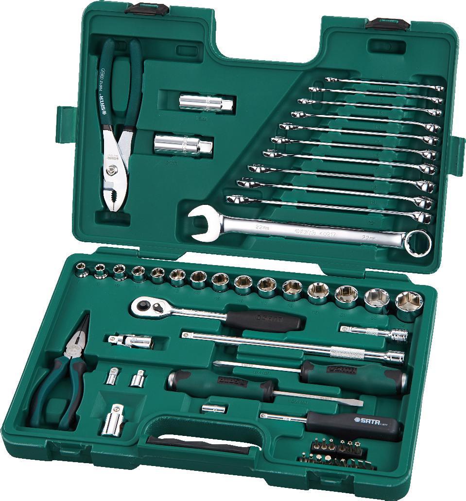 Набор инструментов SATA 56пр. 0950998298130Набор инструментов Sata - это необходимый предмет в каждом доме. Предназначен для выполнения сервисных работ. Набор включает в себя 56 предметов, которые умещаются в пластиковом кейсе. Такой набор будет идеальным подарком мужчине.Состав набора:Головки торцевые шестигранные 3/8: 7 мм, 8 мм, 10 мм, 11 мм, 12 мм, 13 мм, 14 мм, 15 мм, 16 мм, 17 мм, 18 мм, 19 мм, 21 мм, 22 мм, 24 мм. Биты хвостовик 1/4 (длина 25мм): шлицевые: 4 мм, 5 мм, 6,5 мм; Phillips: PH1, PH3; HEX: 3 мм, 4 мм, 5 мм, 6 мм; TORX (закаленные): Т10, Т15, Т20, Т25, Т30, Т 40. Свечные головки 3/8: 16 мм, 21 мм. Ударные отвертки Т-серии: шлицевая 6 мм х 100 мм; Phillips: PH2 х 100 мм. Вороток-отвертка 1/4. Переходник 1/4. Переходник для бит 1/4 х 1/4. Ключ трещоточный 3/8. Удлинители 3/8: 75 мм, 250 мм. Шарнир карданный 3/8. Переходник 3/8. Универсальный переходник 3/8 х 1/2. Ключи комбинированные: 8 мм, 10 мм, 12 мм, 13 мм, 14 мм, 15 мм, 16 мм, 17 мм, 18 мм, 19 мм, 22 мм. Плоскогубцы тонконосые 6. Плоскогубцы переставные 8.
