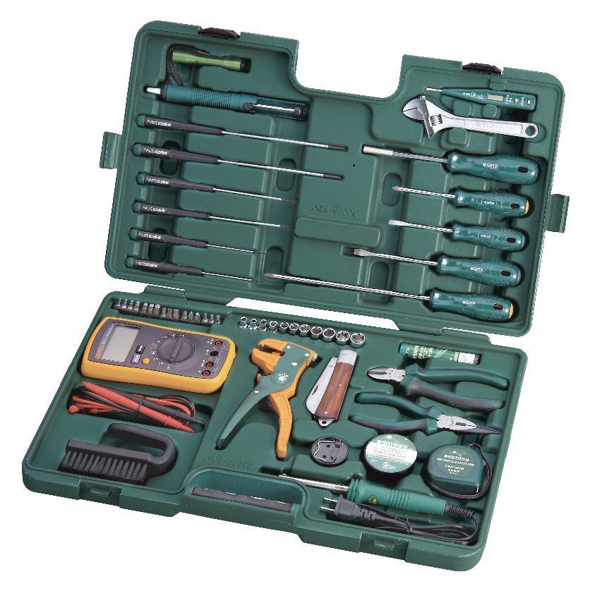 Набор инструментов SATA 53пр. для электротехнических работ 0953598298130Набор инструментов Sata предназначен для проведения электротехнических работ. Все инструменты в наборе выполнены из высококачественной хромованадиевой стали. В комплекте пластиковый кейс для переноски и хранения.Состав набора: Головки торцевые шестигранные 1/4: 4 мм, 5 мм, 6 мм, 7 мм, 8 мм, 9 мм, 10 мм, 11 мм, 12 мм, 13 мм. Биты TORX: T10, T15, T20. Отвертки шлицевые: 5 мм x 75 мм, 6 мм х 100 мм. Отвертка индикаторная. Отвертки Phillips: PH1 x 75 мм, PH2 x 200 мм. Ключ разводной: 200 мм. Тонкогубцы: 150 мм. Бокорезы: 160 мм. Съемник изоляции универсальный. Паяльник: 30 Вт (220V). Биты HEX: 2 мм, 2,5 мм, 3 мм, 4 мм, 5 мм, 6 мм. Биты шлицевые: 5,5 мм, 6,5 мм. Отвертки часовые шлицевые: 2 мм х 75 мм, 3 мм х 100 мм, 4 мм х 150 мм. Отвертки часовые Phillips: PH1 x 75 мм, PH0 x 100 мм, PH1 x 150 мм. Отвертка держатель для битов. Адаптер для головок 1/4: 25 мм. Припой: 17 г. Изолента. Фонарик. Антистатическая щетка. Шприц для откачки припоя. Подставка для паяльника. Нож раскладной. Рулетка измерительная: 3 м x 13 мм. Мультиметр.