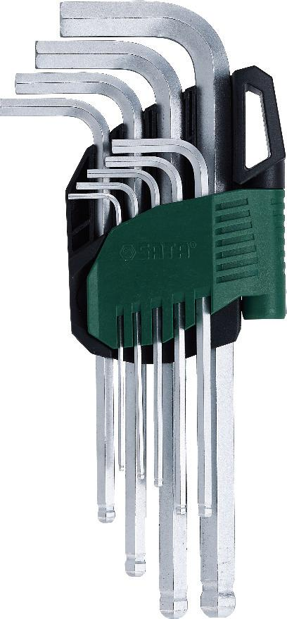 Набор шестигранников SATA 9пр. 09105A80621Набор шестигранных метрических угловых ключей Sata с шаровым окончанием предназначен для работы с резьбовыми соединениями. Все шестигранники имеют правильную форму, размеры их точно совпадают со стандартными. Скошенные грани на концах позволяют быстро и без труда вставить ключ в отверстие. Изготавливаются из хромованадиевой стали для придания максимальной прочности и износоустойчивости. Усилие вращающего момента соответствует ANSI договору.Размеры: 1,5 мм, 2 мм, 2,5 мм, 3 мм, 4 мм, 5 мм, 6 мм, 8 мм, 10 мм.