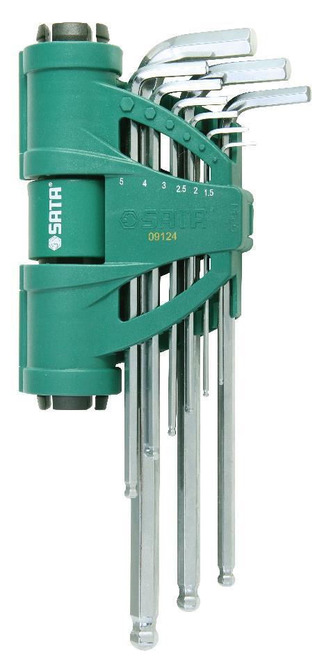 Набор шестигранников SATA 9пр. 09124168488Набор шестигранных метрических удлиненных угловых ключей Sata с шаровым окончанием и держателем предназначен для работы с резьбовыми соединениями. Все шестигранники имеют правильную форму, размеры их точно совпадают со стандартными. Скошенные грани на концах позволяют быстро и без труда вставить ключ в отверстие. Изготавливаются из хромованадиевой стали для придания максимальной прочности и износоустойчивости. Усилие вращающего момента соответствует ANSI договору.Размеры: 1,5 мм, 2 мм, 2,5 мм, 3 мм, 4 мм, 5 мм, 6 мм, 8 мм, 10 мм.