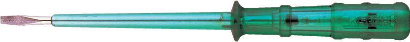 Индикаторная отвертка SATA 6250180621Индикаторная отвертка Sata предназначена для определения полярности контактов силовых цепей (фаза-ноль), напряжения и проводимости источников переменного и постоянного тока при проведении электромонтажных работ.Максимальное напряжение: 500 В.