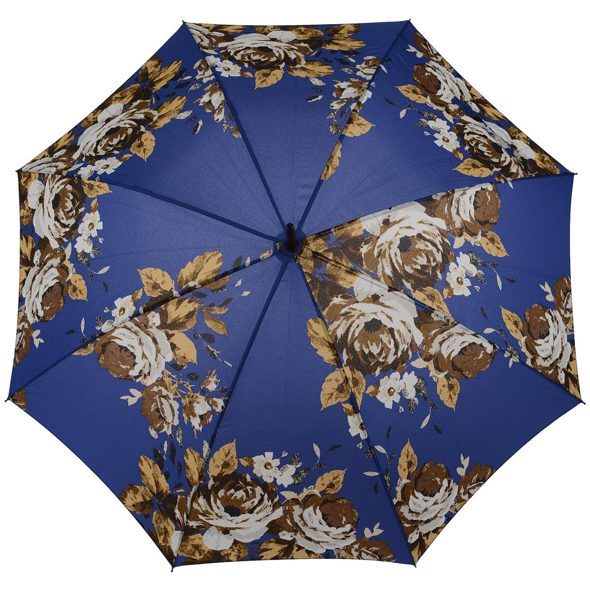 Зонт-трость женский Antique Rose Blue, механический, цвет: синийREM12-CAM-GREENBLACKСтильный механический зонт-трость Antique Rose Blue даже в ненастную погоду позволит вам оставаться элегантной. Облегченный каркас зонта выполнен из 8 спиц из фибергласса, стержень изготовлен из дерева. Купол зонта выполнен из прочного полиэстера и оформлен цветочным принтом. Рукоятка закругленной формы разработана с учетом требований эргономики и выполнена из дерева. Зонт имеет механический тип сложения: купол открывается и закрывается вручную до характерного щелчка.Такой зонт не только надежно защитит вас от дождя, но и станет стильным аксессуаром. Характеристики:Материал: полиэстер, фибергласс, дерево. Диаметр купола: 100 см.Цвет: синий. Длина стержня зонта: 76 см. Длина зонта (в сложенном виде): 88 см.Вес: 375 г.Артикул:L056 3F2638.