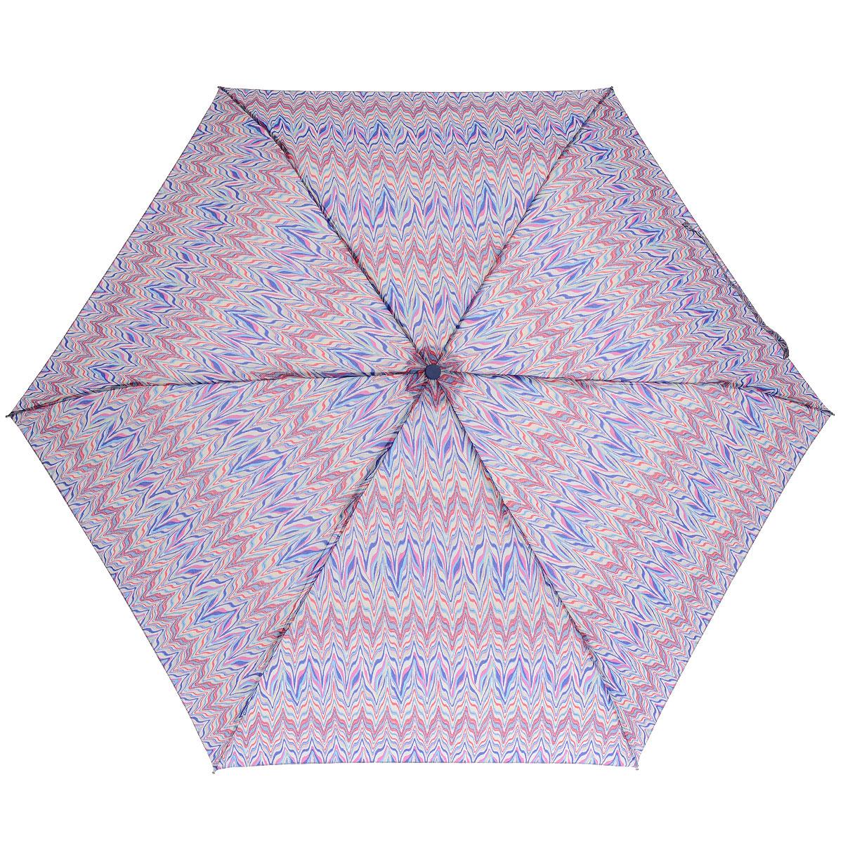 """Зонт женский Fulton Marble, механический, 3 сложения, цвет: синий, розовыйK50K503414_0010Стильный зонт Fulton """"Marble"""" защитит от непогоды, а его компактный размер позволит вам всегда носить его с собой. """"Ветростойкий"""" алюминиевый каркас в 3 сложения состоит из шести спиц с элементами из фибергласса, зонт оснащен удобной рукояткой из пластика. Купол зонта выполнен из прочного полиэстера и оформлен ярким орнаментом. На рукоятке для удобства есть небольшой шнурок-резинка, позволяющий надеть зонт на руку тогда, когда это будет необходимо. К зонту прилагается чехол на липучке.Зонт механического сложения: купол открывается и закрывается вручную, стержень также складывается вручную до характерного щелчка. Характеристики: Материал: алюминий, фибергласс, пластик, полиэстер. Цвет: синий, розовый. Диаметр купола: 86 см. Длина зонта в сложенном виде: 22 см. Длина ручки (стержня) в раскрытом виде:51 см.Вес: 138 г.Диаметр зонта (в сложенном виде): 3 см.Артикул: L553 3F264."""
