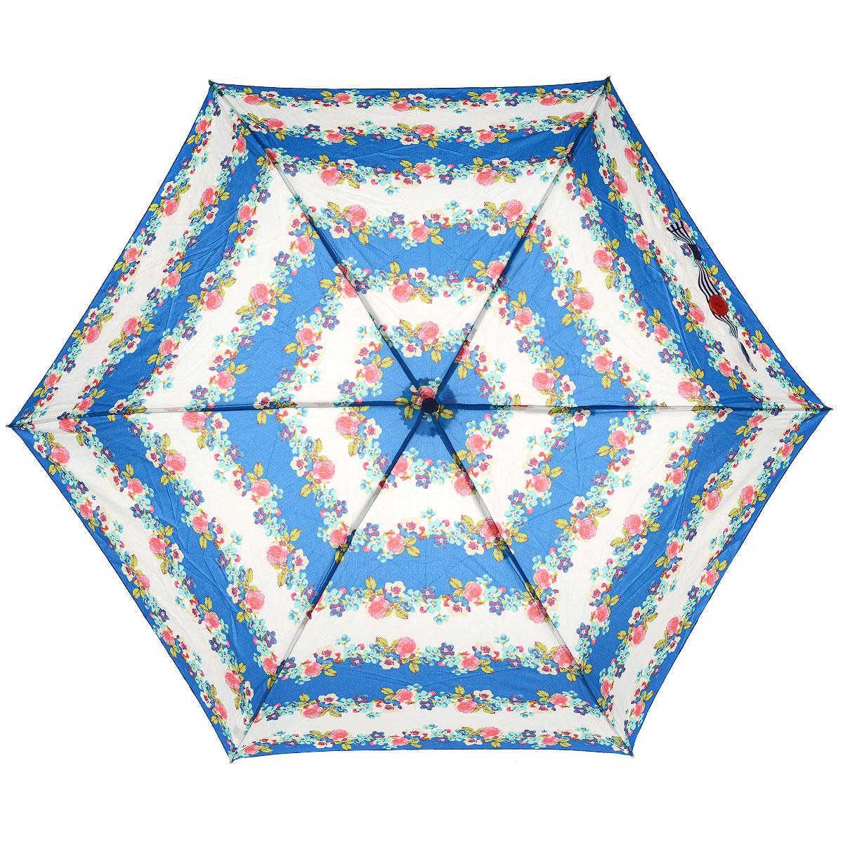 """Зонт женский Fulton Nautical Floral, механический, 3 сложения, цвет: синий45100636-1/18466/4900NСтильный компактный зонт Fulton """"Nautical Floral"""" даже в ненастную погоду позволит вам оставаться женственной и элегантной. """"Ветростойкий"""" алюминиевый каркас в 3 сложения состоит из шести спиц с элементами из фибергласса, зонт оснащен удобной рукояткой из прорезиненного пластика. Купол зонта выполнен из прочного полиэстера и оформлен цветочным принтом. На рукоятке для удобства есть небольшой шнурок, позволяющий надеть зонт на руку тогда, когда это будет необходимо. Зонт механического сложения: купол открывается и закрывается вручную, стержень также складывается вручную до характерного щелчка. Характеристики: Материал: алюминий, фибергласс, пластик, полиэстер. Цвет: синий. Диаметр купола: 86 см. Длина зонта в сложенном виде: 22 см. Длина ручки (стержня) в раскрытом виде:52 см.Вес: 138 г.Диаметр зонта (в сложенном виде): 3 см. Артикул:L553 3S2507."""