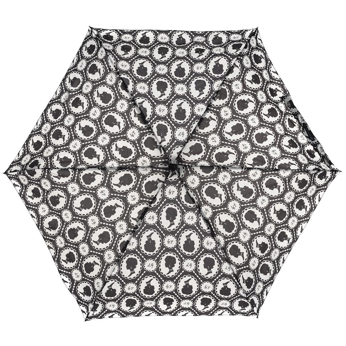 """Зонт женский Lulu Guinness Cameo, механический, 5 сложений, цвет: черный, белыйREM12-CAM-GREENBLACKСтильный зонт """"Cameo"""" защитит от непогоды, а его сверхкомпактный размер позволит вам всегда носить его с собой. """"Ветростойкий"""" плоский каркас зонта выполнен из алюминия и состоит из шести спиц с элементами из фибергласса, зонт оснащен удобной рукояткой из пластика. Купол зонта выполнен из прочного полиэстера и оформлен принтом в виде камей. На рукоятке для удобства есть небольшой шнурок, позволяющий надеть зонт на руку тогда, когда это будет необходимо. К зонту прилагается чехол.Зонт механического сложения: купол открывается и закрывается вручную, стержень также складывается вручную до характерного щелчка. Характеристики: Материал: алюминий, фибергласс, пластик, полиэстер. Цвет: черный, белый. Диаметр купола: 87 см. Длина зонта в сложенном виде: 15 см. Длина ручки (стержня) в раскрытом виде:50 см.Вес: 158 г.Артикул: L717 2F2405."""
