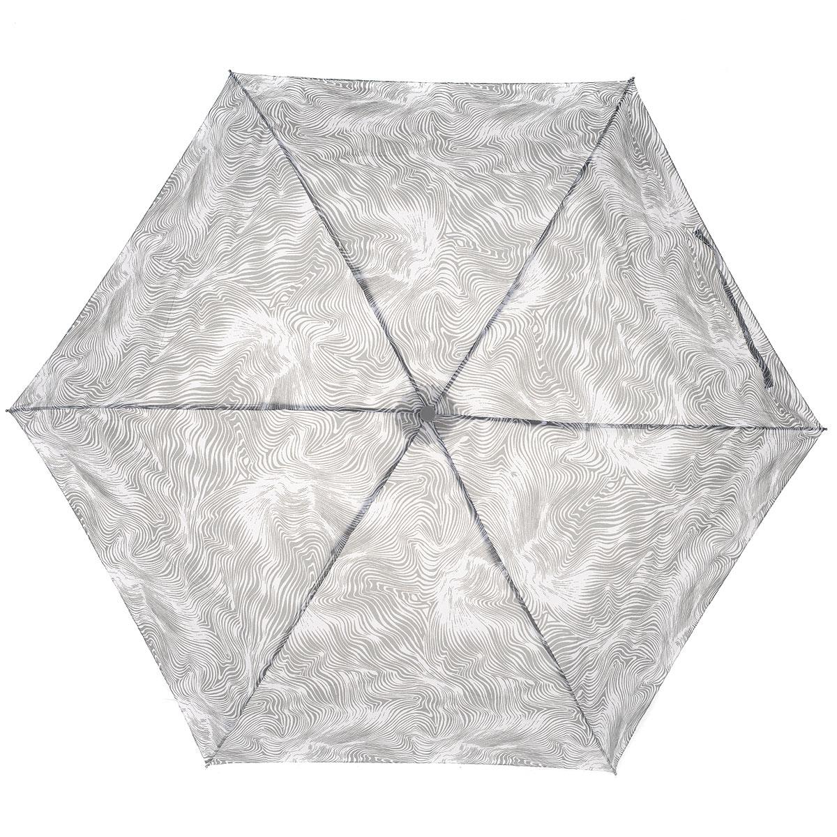 """Зонт женский Fulton Flow, механический, 3 сложения, цвет: серый45100033/18076/3500NСтильный зонт Fulton """"Flow"""" защитит от непогоды, а его компактный размер позволит вам всегда носить его с собой. """"Ветростойкий"""" алюминиевый каркас в 3 сложения состоит из шести спиц с элементами из фибергласса, зонт оснащен удобной рукояткой из пластика, изготовленной в форме шара. Купол зонта выполнен из прочного полиэстера и оформлен принтом в виде волн. На рукоятке для удобства есть небольшой шнурок-резинка, позволяющий надеть зонт на руку тогда, когда это будет необходимо. К зонту прилагается чехол на липучке.Зонт механического сложения: купол открывается и закрывается вручную, стержень также складывается вручную до характерного щелчка.Компактныйзонт диаметром 3 см в закрытом виде. Ветроустойчивый алюминиевый каркас в 3 сложения, 6 спиц с элементами из фибергласса, материал купола - полиэстер, диаметр купола - 86см. Длина зонта в сложенном виде - 22 см. Вес 138 гр. Характеристики: Материал: алюминий, фибергласс, пластик, полиэстер. Цвет: серый. Диаметр купола: 86 см. Длина зонта в сложенном виде: 22 см.Диаметр зонта (в сложенном виде): 3 см.Длина ручки (стержня) в раскрытом виде:52 см.Вес: 138 г.Артикул: L553 4S2754."""