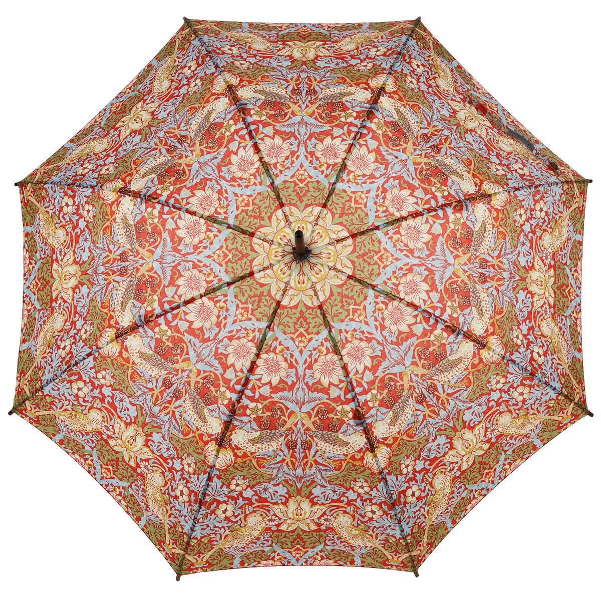 Зонт-трость женский Strawberry Thief, механический, цвет: голубой, красный45100636-1/18466/4900NСтильный механический зонт-трость Strawberry Thief даже в ненастную погоду позволит вам оставаться элегантной. Облегченный каркас зонта выполнен из 8 спиц из стали, стержень изготовлен из дерева. Купол зонта выполнен из прочного полиэстера и оформлен красочным принтом с изображением птиц. Рукоятка закругленной формы разработана с учетом требований эргономики и выполнена из дерева. Зонт имеет механический тип сложения: купол открывается и закрывается вручную до характерного щелчка.Такой зонт не только надежно защитит вас от дождя, но и станет стильным аксессуаром. Характеристики:Материал: полиэстер, сталь, дерево. Диаметр купола: 102 см.Цвет: голубой, красный. Длина стержня зонта: 78 см. Длина зонта (в сложенном виде): 89 см.Вес: 370 г.Артикул: L715 3S2593.
