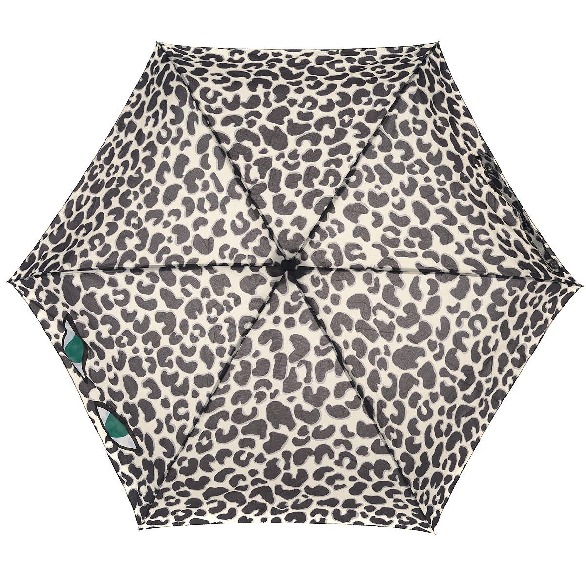 """Зонт женский Lulu Guinness Leopard Eye, механический, 5 сложений, цвет: бежевый, черныйREM12-CAM-GREENBLACKСтильный зонт """"Leopard Eye"""" защитит от непогоды, а его сверхкомпактный размер позволит вам всегда носить его с собой. """"Ветростойкий"""" каркас зонта выполнен из алюминия и состоит из шести спиц с элементами из фибергласса, зонт оснащен удобной рукояткой из пластика. Купол зонта выполнен из прочного полиэстера и оформлен леопардовым принтом. На рукоятке для удобства есть небольшой шнурок, позволяющий надеть зонт на руку тогда, когда это будет необходимо. К зонту прилагается чехол.Зонт механического сложения: купол открывается и закрывается вручную, стержень также складывается вручную до характерного щелчка. Характеристики: Материал: алюминий, фибергласс, пластик, полиэстер. Цвет: бежевый, черный. Диаметр купола: 87 см. Длина зонта в сложенном виде: 15 см. Длина ручки (стержня) в раскрытом виде:50 см.Вес: 158 г. Артикул: L717 3F2682."""