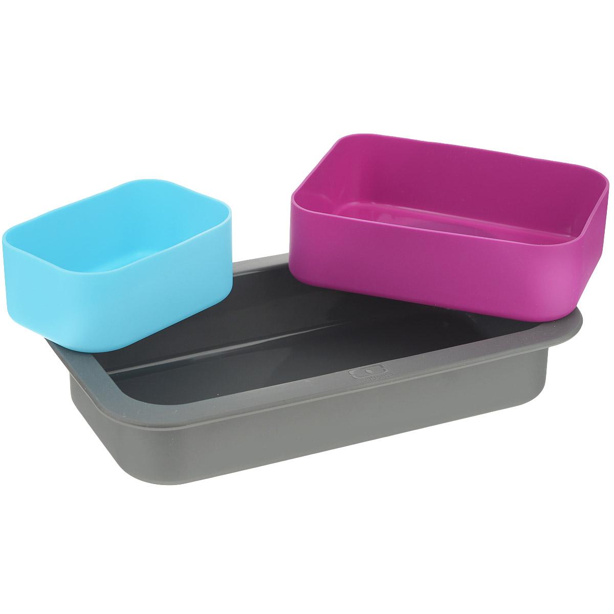Набор форм для выпечки Monbento Original, цвет: серый, голубой, фуксия, 3 шт54 009305Набор форм для выпечки Monbento Original состоит из трех высококачественных силиконовых форм. Такой набор подходит для приготовления пирогов, желе, кексов, запеканок и других блюд. Изделия можно использовать как в духовке, так и в микроволновой печи, а также замораживать жидкость в морозильной камере. Форма выдерживает температуру от -40 до +240°С. Благодаря таким формам вы сможете взять приготовленное блюдо с собой на работу, так как по размеру ваша выпечка будет совпадать с ланч-боксами MB Single и MB Original.Объем большой формы: 450 мл. Объем средней формы: 300 мл. Объем маленькой формы: 150 мл. Размер большой формы: 18 х 9 х 3,5 см. Размер средней формы: 11,5 х 8,5 х 3,5 см. Размер маленькой формы: 8,5 х 5,5 х 3,5 см.