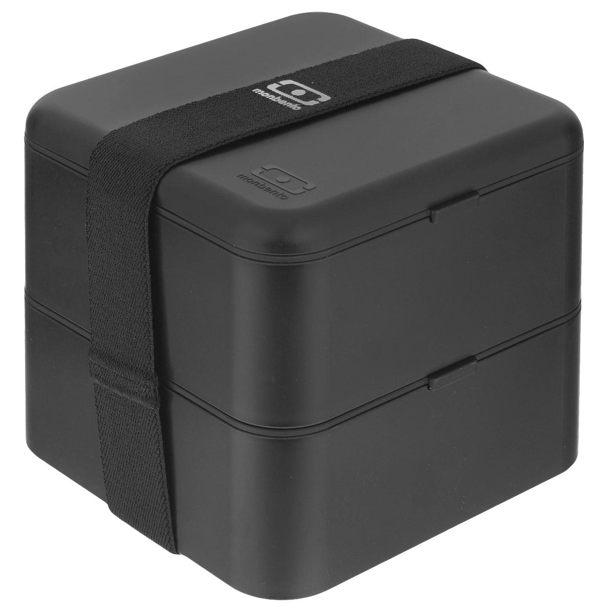 Ланчбокс Monbento Square, цвет: черный, 1,7 л1200 03 002Ланчбокс Monbento Square изготовлен из высококачественного пищевого пластика. Предназначен для хранения и переноски пищевых продуктов в больших порциях: подходит для салатов, бутербродов и других блюд. Ланчбокс представляет собой два квадратных контейнера, в которых удобно хранить сразу несколько видов блюд. Контейнеры вакуумные, что позволяет продуктам дольше оставаться свежими и вкусными. Контейнеры скрепляются эластичной резинкой. Компактные размеры позволят уместить ланчбокс в любой сумке. Его удобно взять с собой на работу, отдых, в поездку. Теперь любимая домашняя еда всегда будет под рукой, а яркий дизайн поднимет настроение и подарит заряд позитива. Можно использовать в микроволновой печи и для хранения пищи в холодильнике, можно мыть в посудомоечной машине. Объем: 1,7 л. Общий размер ланчбокса: 14 см х 14 см х 14 см. Размер контейнера: 14 см х 14 см х 8 см.
