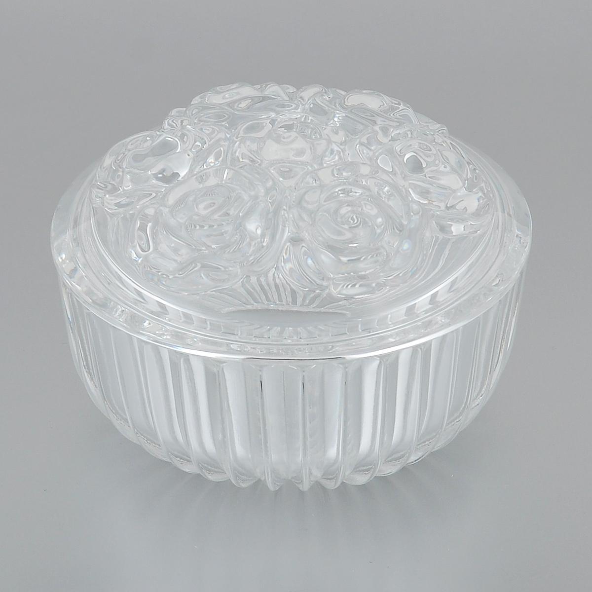 Доза-шкатулка Crystal Bohemia Розы, диаметр 11,5 см139556Доза-шкатулка Crystal Bohemia Розы выполнена из граненого высококачественного хрусталя. Крышка шкатулки декорирована рельефом в виде роз. Она излучает приятный блеск и издает мелодичный звон. Шкатулка сочетает в себе изысканный дизайн с максимальной функциональностью. Она не только украсит дом и подчеркнет ваш прекрасный вкус, но и станет отличным подарком.Диаметр по верхнему краю: 11,5 см.Высота (без учета крышки): 5 см.