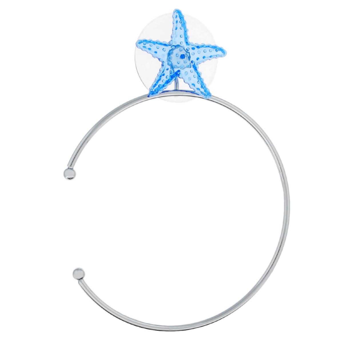 Держатель для полотенец Home Queen Морская звезда, диаметр 18 см68/5/3Держатель для полотенец Home Queen Морская звезда изготовлен из стали с хромированным покрытием. Крепится к стене при помощи присоски, украшенной фигуркой в виде голубой морской звезды. Держатель позволяет аккуратно повесить полотенце в ванной, даже если у полотенца нет петельки. Такой держатель будет органично смотреться в любом интерьере ванной комнаты. Крепить на поверхность, очищенную от загрязнений, известкового и мыльного налета.Диаметр: 18 см.