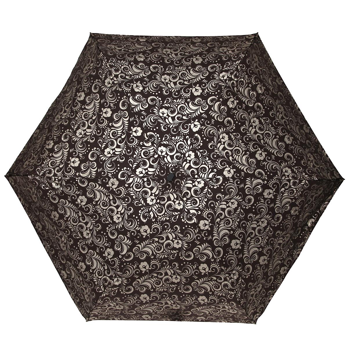 Зонт женский Zest, механический, 5 сложений, цвет: коричневый, золотистый. 25569-126345100636-1/18466/4900NЭлегантный механический зонт Zest в пять сложений изготовлен из высокопрочных материалов. Каркас зонта состоит из шести спиц и прочного алюминиевого стержня. Специальная система Windproof защищает его от поломок во время сильных порывов ветра. Купол зонта выполнен из прочного полиэстера с водоотталкивающей пропиткой и оформлен витиеватым растительным узором. Используемые высококачественные красители обеспечивают длительное сохранение свойств ткани купола. Рукоятка, разработанная с учетом требований эргономики, выполнена из пластика.Зонт механического сложения: купол открывается и закрывается вручную до характерного щелчка.Небольшой шнурок, расположенный на рукоятке, позволяет надеть изделие на руку при необходимости. Модель закрывается при помощи хлястика на застежку-липучку. К зонту прилагается чехол.Очаровательный зонт не только выручит вас в ненастную погоду, но и станет стильным аксессуаром, который прекрасно дополнит ваш модный образ.